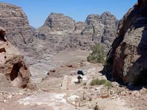 Jordanien | Beduinen in Petra. Ein Beduine auf seinem Esel beim Ritt durch die Berge im Weltwunder Petra