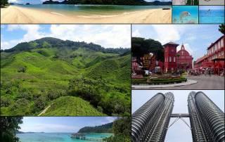 Malaysia | Eindrücke von interessanten Orten. Strand auf Langkawi, Bucht und Tierwelt auf den Perhentian Islands, Teeplantagen in den Cameron Highlands, Der Rote Platz in Melaka, die Petronas Towers in Kuala Lumpur
