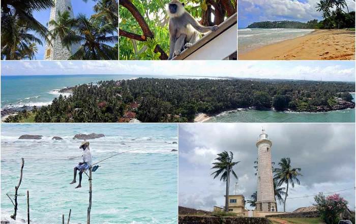 Sri Lanka | Eindrücke auf der Rundreise entlang der Westküste von Colombo über Galle bis Tissamahara. Sri Lanka Panoramablick vom Dondra Leuchtturm, Strand von Mirissa, Stelzenfischer von Konggalla, Leuchtturm in Galle. Sehenswürdigkeiten und Highlights liegen geballt auf dieser Route