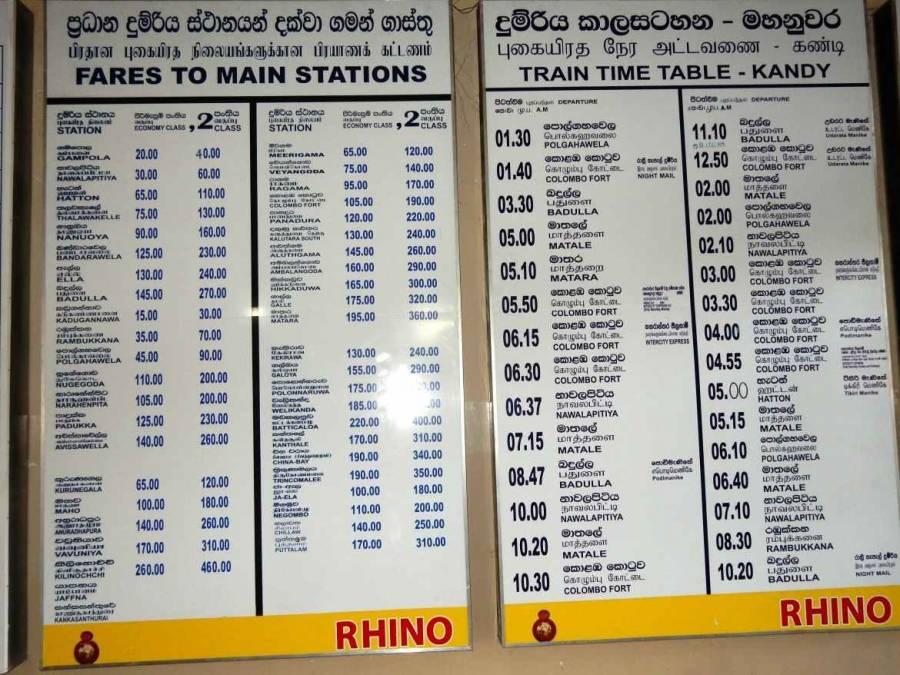 Tipps zum Zug fahren |Eine weiße Tafel mit den Preisen und Zeiten für Zugtickets ab Kandy Richtung Colombo