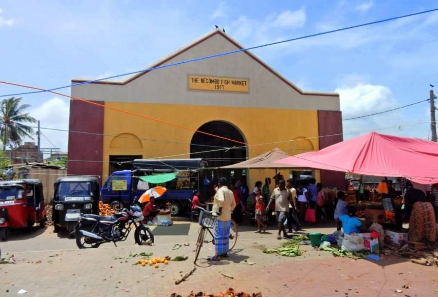 Die gelbrote Fischmarkthalle Negombos mit zahlreichen Einheimischen in Einkaufslaune