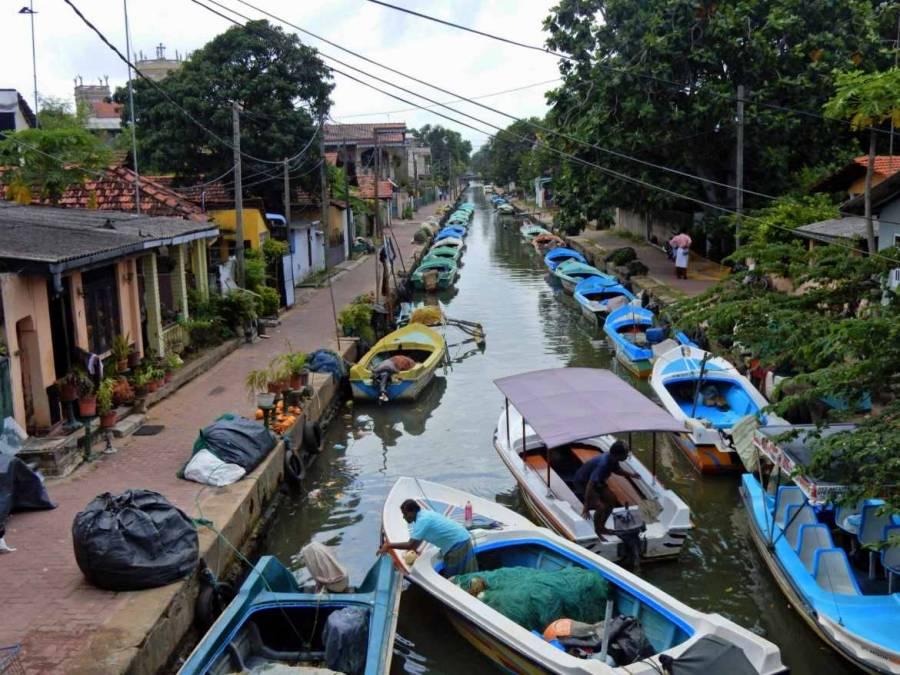 Sri Lanka | Der holländischer Kanal in Negombo mit zahlreichen blauen Ausflugs- und Fischbooten