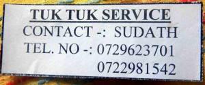 Sri Lanka | Telefonnummer eines empfehlenswerten Tuk Tuk und Taxi Service in Tissa
