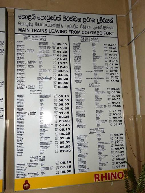 Tipps zum Zug fahren |Bild des Zugfahrplans ab Colombo Fort mit den Hauptrouten durch's Land