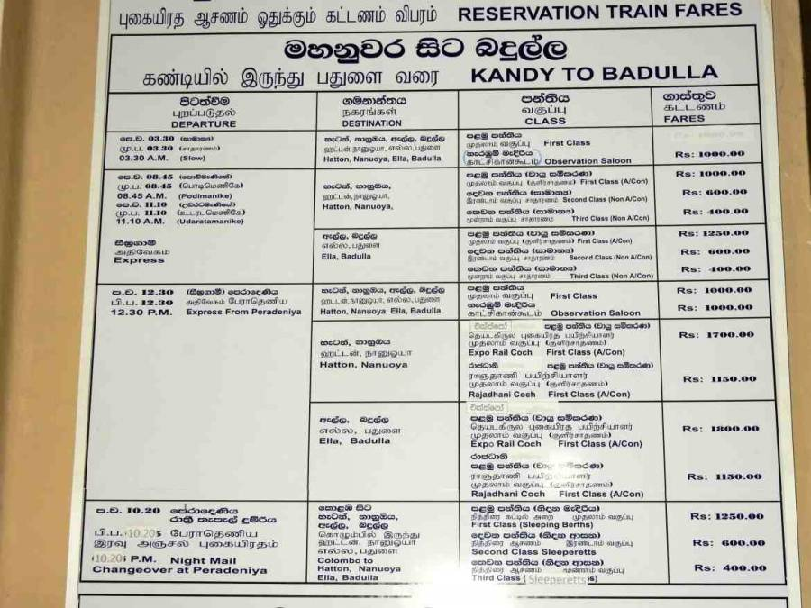Tipps zum Zug fahren | Bild des Zugfahrplans und Preise von Kandy nach Badulla.
