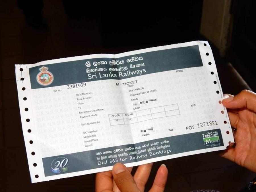 Sri Lanka | Großes Ausgedrucktes Zugticket der ersten Wagenklasse von Colombo nach Kandy