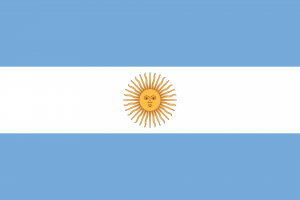 Argentinien Reise- und Länderinformation. Argentinien Flagge. Hellblau, weiß gestreift mit gelber Sonne in der Mitte