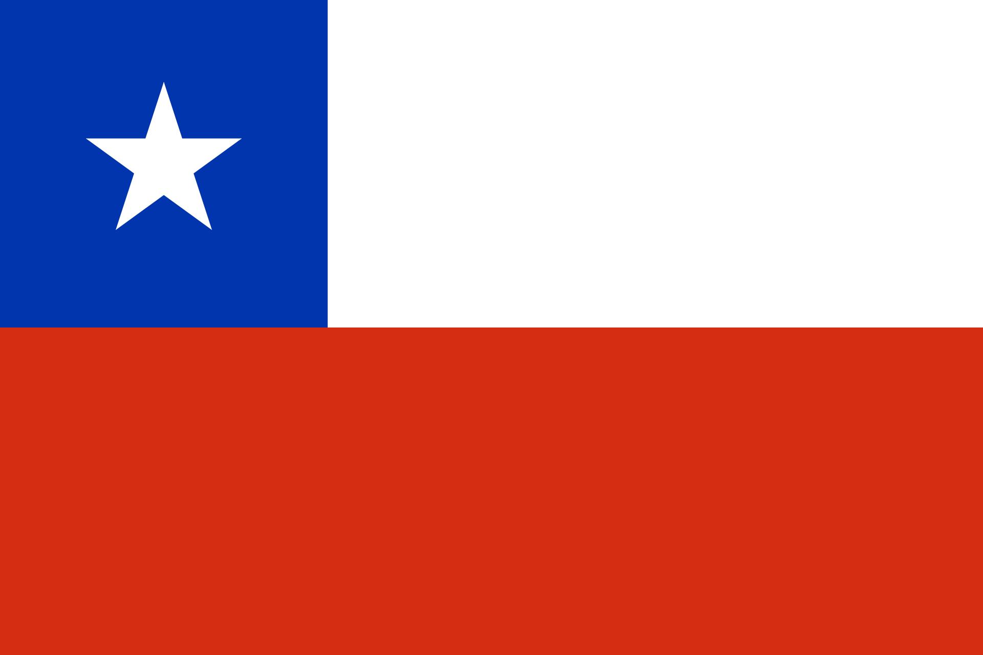 Chile Reise- und Länderinformation. Chile Flagge. Weiß, rot und blau mit einem weißen Stern in der blauen Fläche oben links