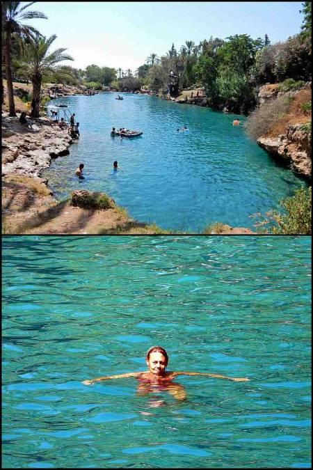 Israel | Karin schwimmt im azurblauen Wasser der Oase