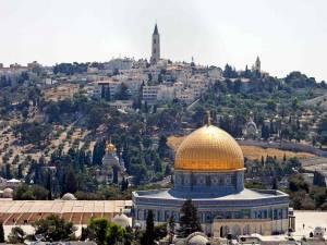 Jerusalem | Sehenswürdigkeiten: Erhöhter Blick auf Felsendom, Maria-Magdalena-Kirche, Himmelfahrtskirche und Ölberg