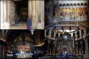 Jerusalem | Sehenswürdigkeiten: Fotocollage mit dem Eingang zur Grabeskirche (oben links), dem Heiligen Grab (unten rechts) und dem Salbungsstein (oben rechts)