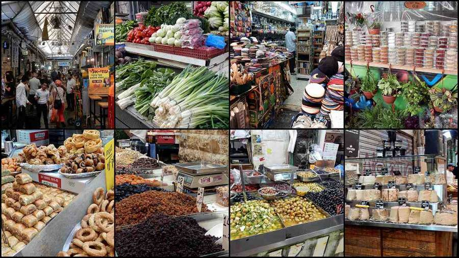 Jerusalem | interessante Orte: Bunte Marktstände des Mahane Yehuda Market in West-Jerusalem in einer Collage