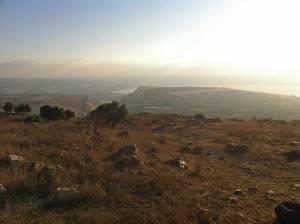 Jesus Trail | Bergpanorama auf das trockenen Land, Berg Arbel und den See Genezareth