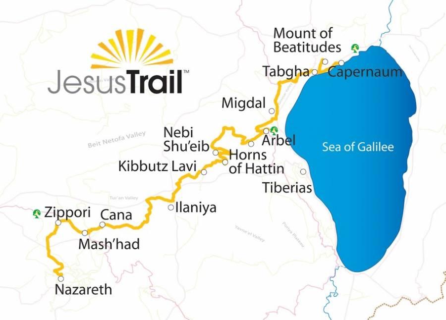 Jesus Trail | Illustrierte Karte des Weges der von Nazareth nach Kapernum führt