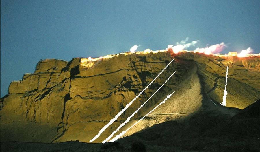 Masada | Die Sound and Light Show erleuchtend den steilen Felsen eindrucksvoll