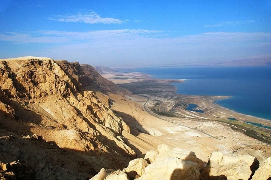 Totes Meer | Panoramablick vom Berg auf das Tote Meer