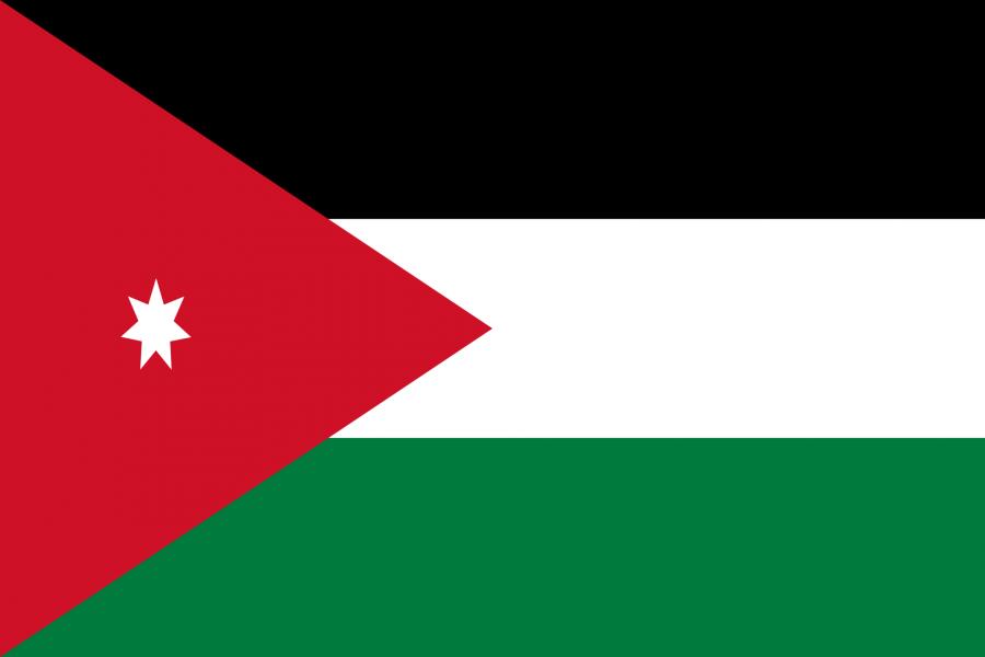 Jordanien Reise- und Länderinformation. Jordanien Flagge. Schwarz, weiß und grün gestreift mit einem roten Dreieck auf dem ein weißer Stern ist in der linken Seite