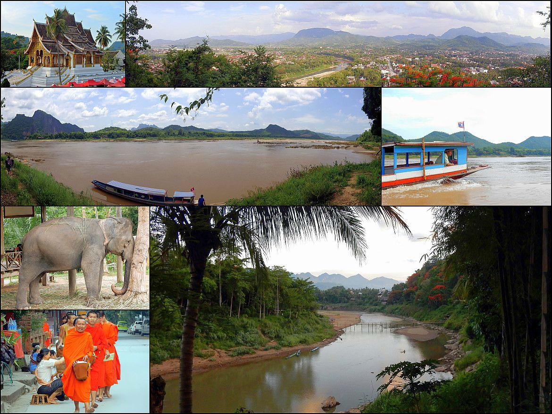 Laos | Eindrücke von interessanten Orten. Luang Prabang, Mekong, ELefanten, Mönche, Vientiane