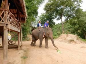 Laos | Henning das erste Mal auf einem Elefanten mit Mahout