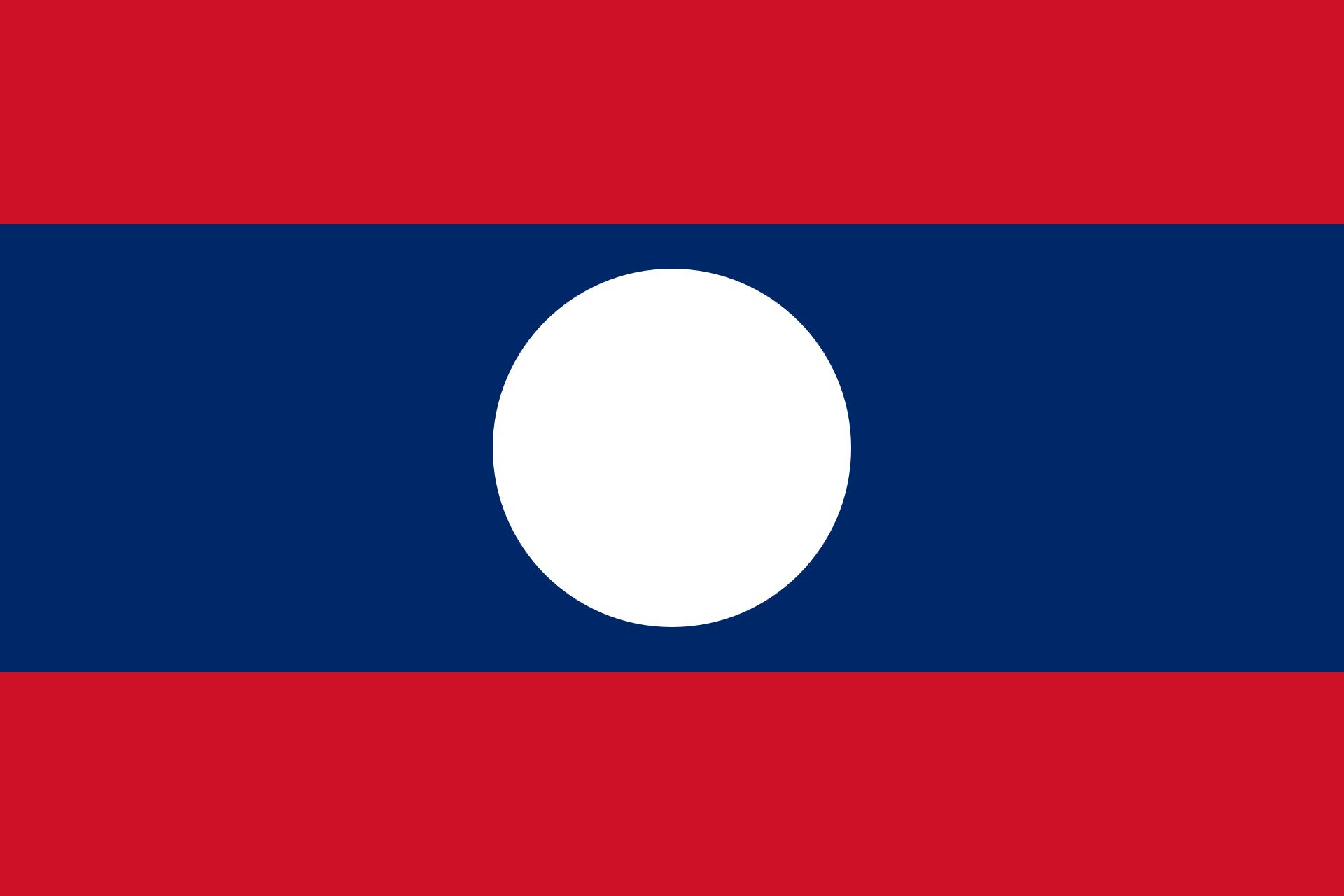 Laos Reise- und Länderinformation. Laos Flagge. Rot und blau gestreift mit weißem Kreis in der Mitte