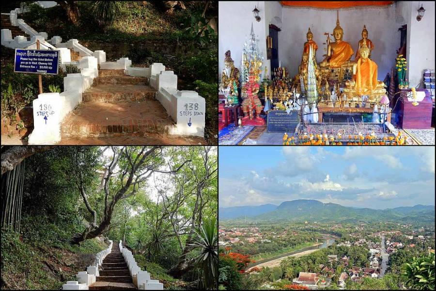 Laos | Über 300 Stufen führen hinauf zum Mount Phousi in Luang Prabang. Panorama, Wat und Weg nach oben