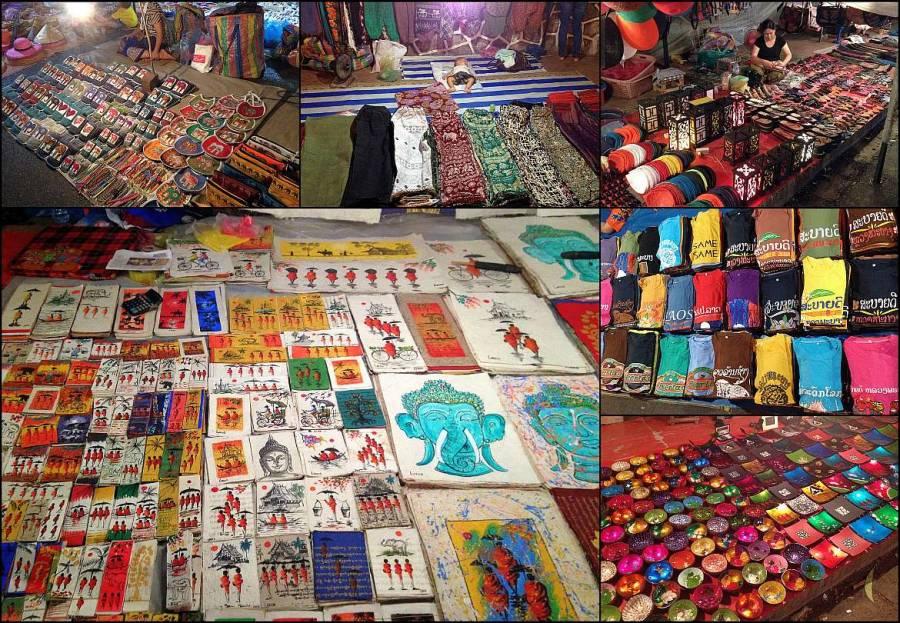 Einer unserer Tipps: der schönste Markt den wir je gesehen haben ist der Nachtarkt in Luang Prabang. Collage mit verschiedene bunten Dingen. T-Shirts, Hosen, Schuhe, Karten, Bücher, Lampen, Schalen