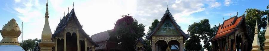 Panorama buddhistischer Tempel in Lunang Prabang