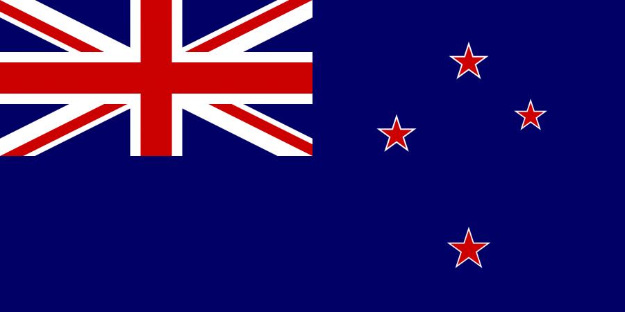 Neuseeland Reise- und Länderinformation. Neuseeland Flagge. Blau mit vier roten Sternen rechts und einem rot, weißen Kreuz in der linken oberen Ecke
