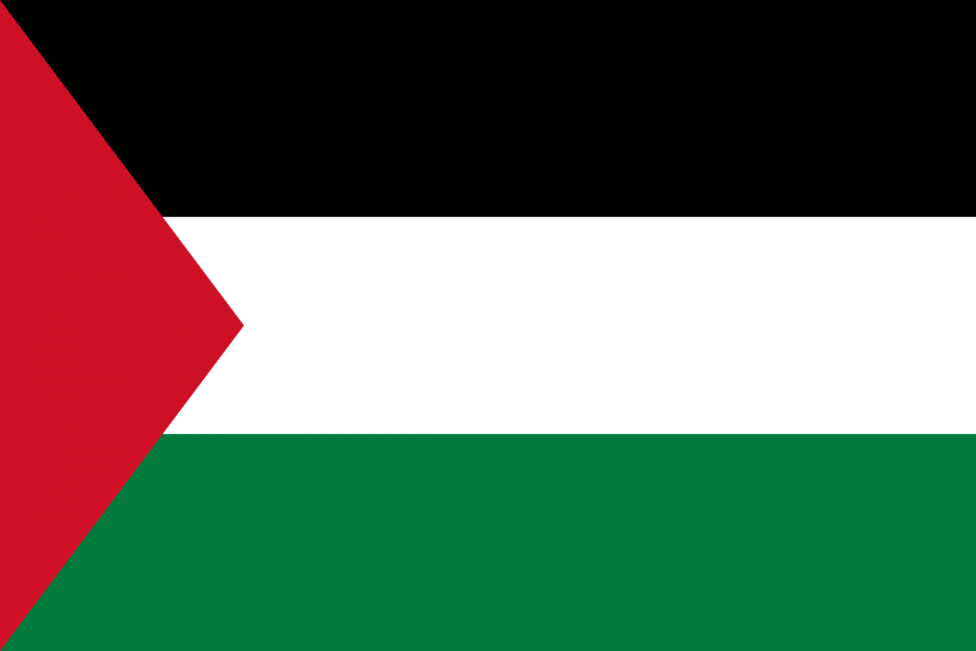 Palästina Reise- und Länderinformation. Palästina Flagge. Schwarz, weiß, grün gestreift mit rotem Dreieck in der rechten Seite