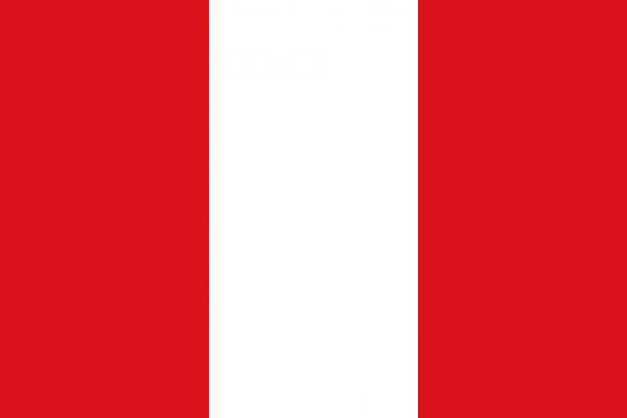 Peru Reise- und Länderinformation. Peru Flagge. Rot und weiß senkrecht gestreift
