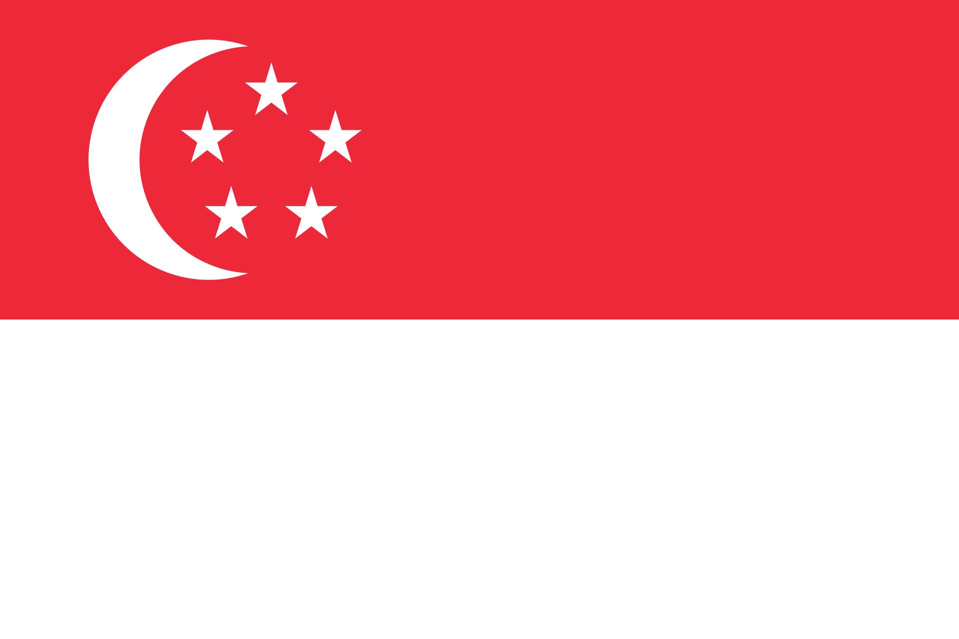 Singapur Reise- und Länderinformation. Singapur Flagge. Halb rot und halb weiß gestreift, mit einem weißen Halbmond und fünf Sternen in der weißen Hälfte