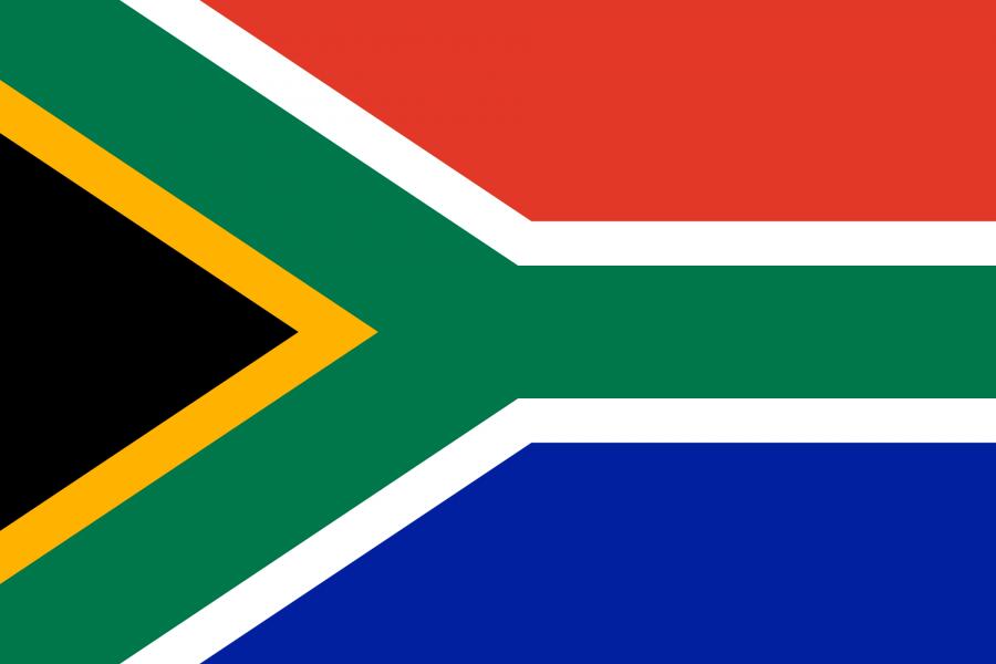 Südafrika Reise- und Länderinformation. Südafrika Flagge. Blau, rot, grün, weiß, gelb, schwarz