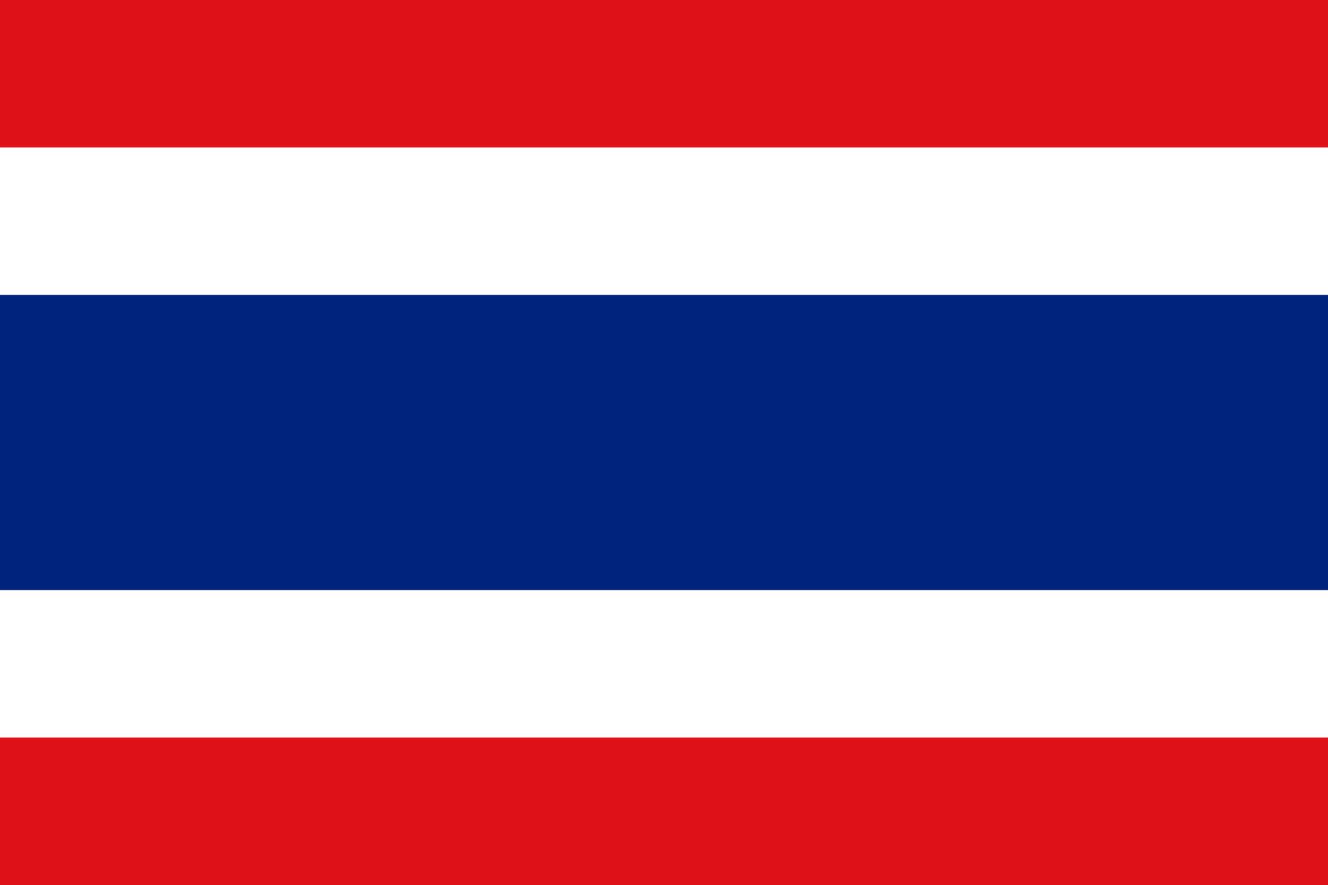 Thailand Reise- und Länderinformation. Thailand Flagge. Rot, weiß, blau gestreift