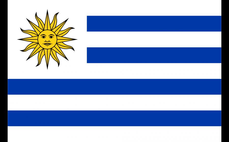 Uruguay Reise- und Länderinformation. Uruguay Flagge. Blau, weiß gestreift, mit gelber Sonne in der linken oberen Ecke