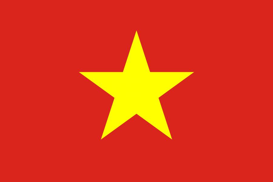 Vietnam Reise- und Länderinformation. Vietnam Flagge. Rot mit gelbem Stern