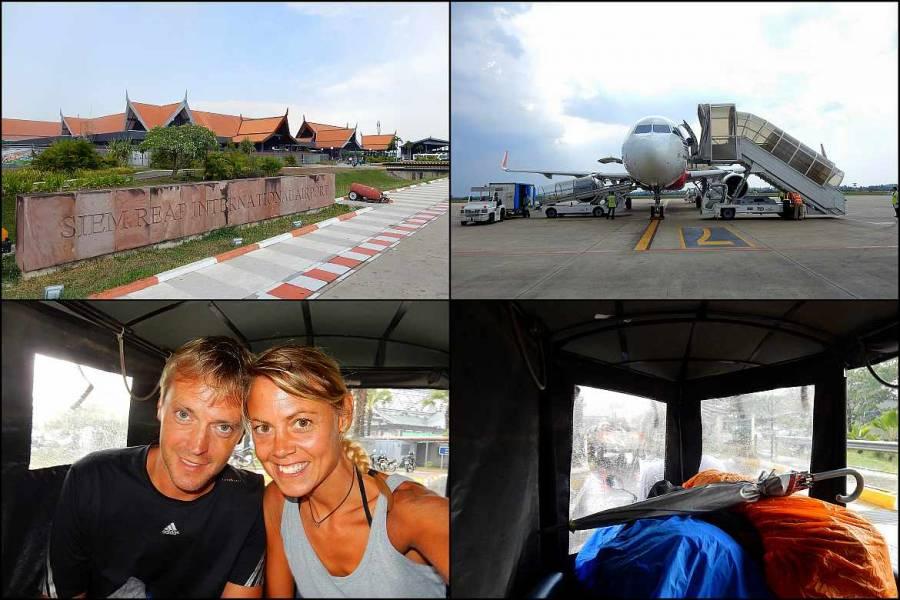 Kambodscha | Unsere Ankunft in Siem Reap. Der Internationale Flughafen, unsere Masschine, Karin und Henning samt Gepäck im Tuk Tuk auf dem Weg nach SIem Reap