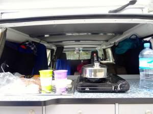 Neuseeland | Camping, der kleine Gaskocher immer im Einsatz, hier beim Cafe kochen