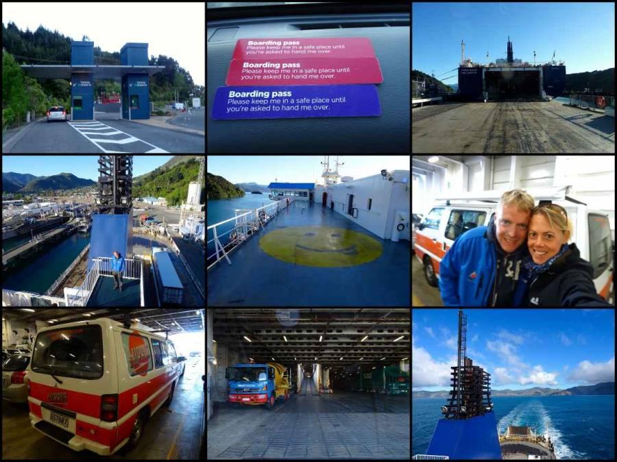 Neuseeland | Eindrücke der Fährfahrt von Picton nach Wellington. Einfahrt, Boardings Pass, unser Hippie Camper auf der Fähre, Panoramablick von der Fähre
