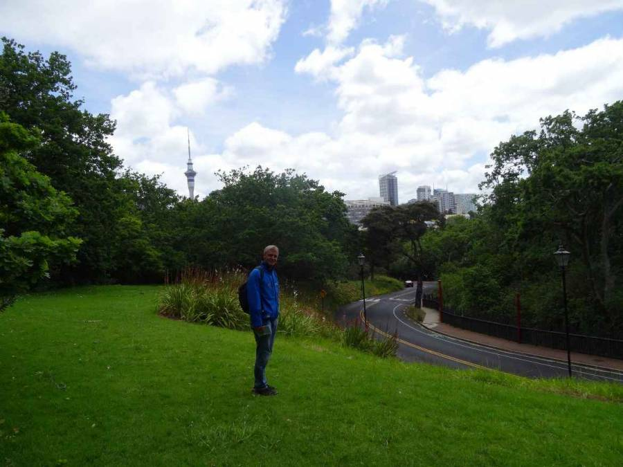 Neuseeland | Nordinsel, Henning beim Stadtspaziergang in Auckland auf grüner Wiese der Fernsehturm Sky Tower im Hintergrund bei blauem Himmel