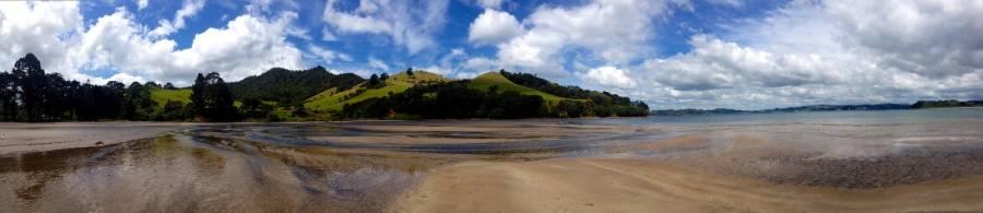 Neuseeland | Nordinsel, Panorama am Simpsons Beach bei Whitianga in der Coromandel. Blick auf den Strand bei Ebbe und grüne Hügel im Hintergrund