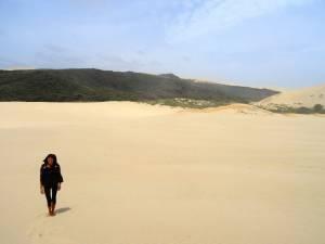 Neuseeland | Nordinsel, Hoher Norden, Sanddünen inmitten von grünem Urwald im Te Paki Stream. Karin steht inmitten der Sandberge bei blauem Himmel mit grünen Pflanzen im Hintergrund