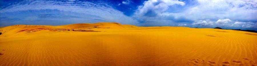 Neuseeland | Nordinsel, Panorama der Sanddünen im Te Paki Stream im hohen Norden. Hohe Sandberge vor blauem Himmel