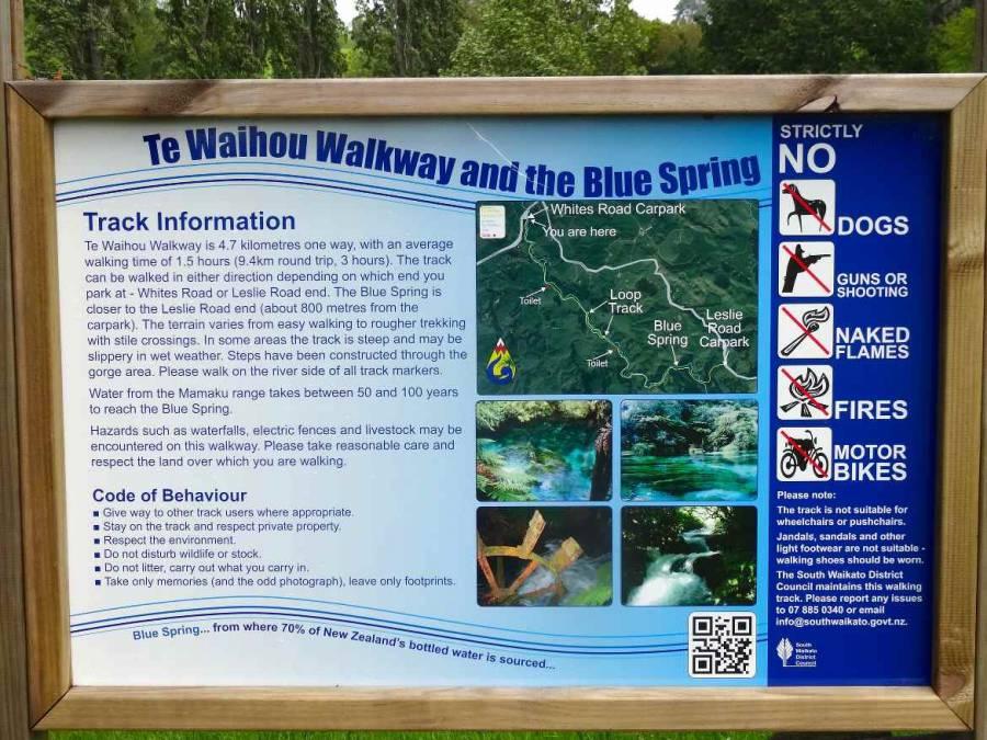 Neuseeland | Nordinsel, Te Waihou Walkway und Blue Spring auf einer Karte beschrieben