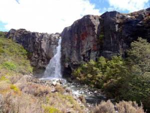 Neuseeland | Nordinsel, Tongariro Nationalpark Alpine Crossing, Taranaki Falls. Wasserfall der von einer Felswand in einen kleinen Fluss hinunterstürzt, umgeben von Bäumen und Büschen