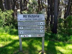 Neuseeland | Nordinsel, Wegweiser zu verschiedenen Wanderwegen am Mount Victoria in Wellington