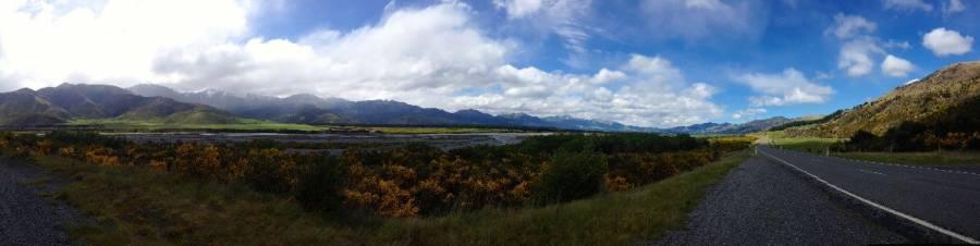 Südinsel, Panorama von Refften über den Lewis Pass nach Hammer Springs