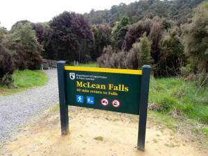 Neuseeland | Südinsel, Startpunkt der 40-minütigen Wanderung zu den Clean Falls. Ein grün-gelbes Hinweisschild im Vordergrund, grüne Büsche im Hintergrund