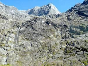Neuseeland | Südinsel, Wasserfälle bei der Milford Sound Cruise. Viele kleine einzelne Wasserfälle stürzen die Felsen hinab vor blauem Himmel