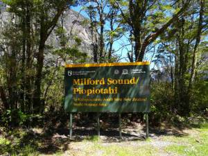Neuseeland | Südinsel, Ankunft in der Region Milford Sound. Grün-gelbes Hinweisschild