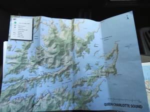 Neuseeland | Südinsel, Queen Charlotte Sound Übersicht auf einer Karte
